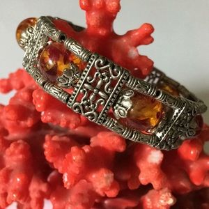 Vintage amber beads bracelet